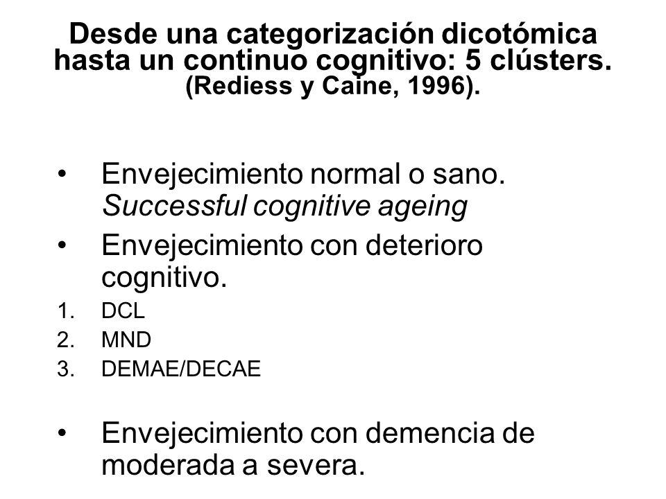 Desde una categorización dicotómica hasta un continuo cognitivo: 5 clústers. (Rediess y Caine, 1996). Envejecimiento normal o sano. Successful cogniti