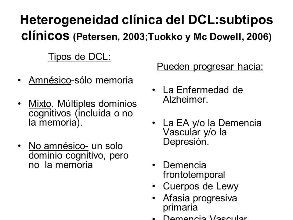 Heterogeneidad clínica del DCL:subtipos clínicos (Petersen, 2003;Tuokko y Mc Dowell, 2006) Tipos de DCL: Amnésico-sólo memoria Mixto. Múltiples domini