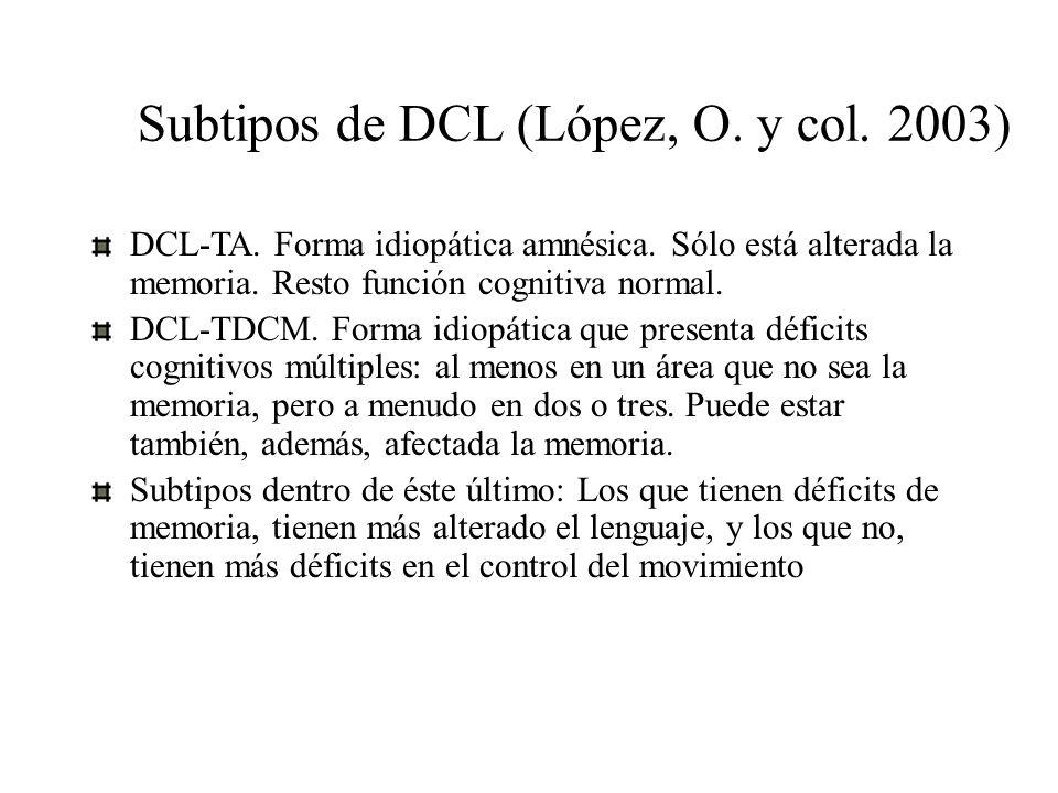 Subtipos de DCL (López, O. y col. 2003) DCL-TA. Forma idiopática amnésica. Sólo está alterada la memoria. Resto función cognitiva normal. DCL-TDCM. Fo