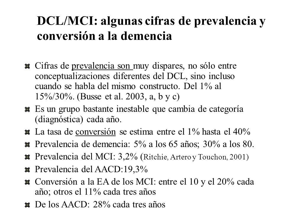 DCL/MCI: algunas cifras de prevalencia y conversión a la demencia Cifras de prevalencia son muy dispares, no sólo entre conceptualizaciones diferentes