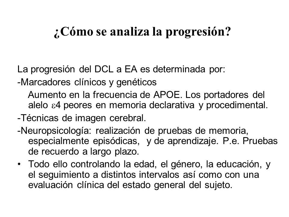 La progresión del DCL a EA es determinada por: -Marcadores clínicos y genéticos Aumento en la frecuencia de APOE. Los portadores del alelo 4 peores en