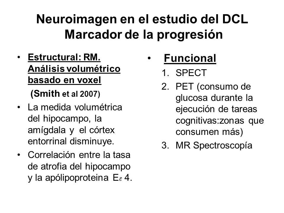 Neuroimagen en el estudio del DCL Marcador de la progresión Estructural: RM. Análisis volumétrico basado en voxel (Smith et al 2007) La medida volumét