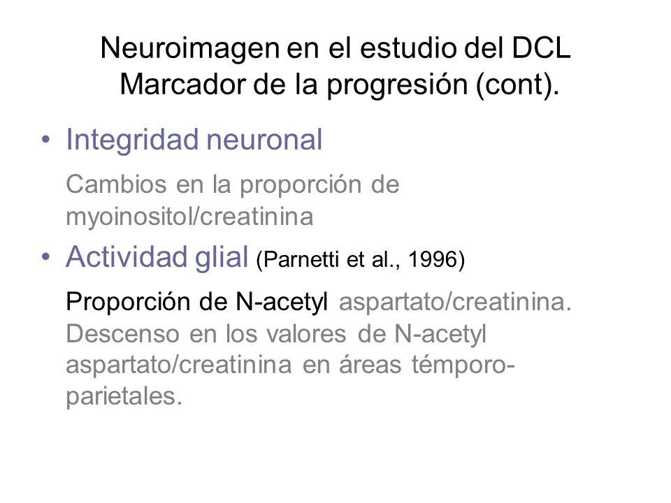 Integridad neuronal Cambios en la proporción de myoinositol/creatinina Actividad glial (Parnetti et al., 1996) Proporción de N-acetyl aspartato/creati