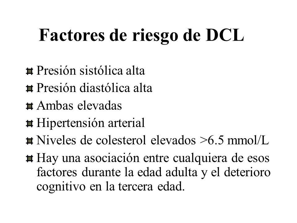 Factores de riesgo de DCL Presión sistólica alta Presión diastólica alta Ambas elevadas Hipertensión arterial Niveles de colesterol elevados >6.5 mmol