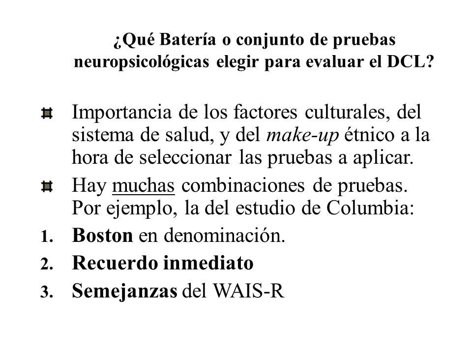 ¿Qué Batería o conjunto de pruebas neuropsicológicas elegir para evaluar el DCL? Importancia de los factores culturales, del sistema de salud, y del m