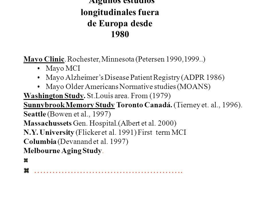 Algunos estudios longitudinales fuera de Europa desde 1980 Mayo Clinic. Rochester, Minnesota (Petersen 1990,1999..) Mayo MCI Mayo Alzheimers Disease P