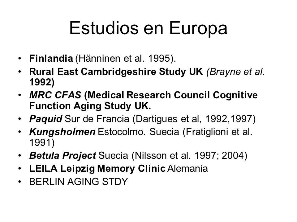 Estudios en Europa Finlandia (Hänninen et al. 1995). Rural East Cambridgeshire Study UK (Brayne et al. 1992) MRC CFAS (Medical Research Council Cognit
