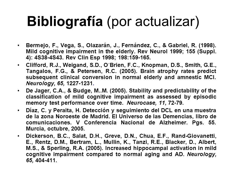Bibliografía (por actualizar) Bermejo, F., Vega, S., Olazarán, J., Fernández, C., & Gabriel, R. (1998). Mild cognitive impairment in the elderly. Rev