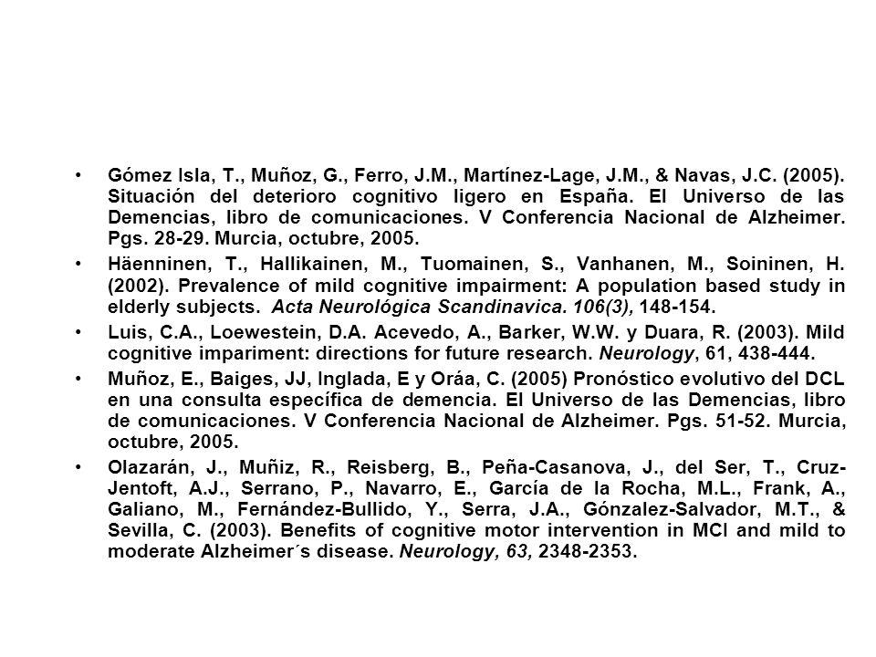 Gómez Isla, T., Muñoz, G., Ferro, J.M., Martínez-Lage, J.M., & Navas, J.C. (2005). Situación del deterioro cognitivo ligero en España. El Universo de