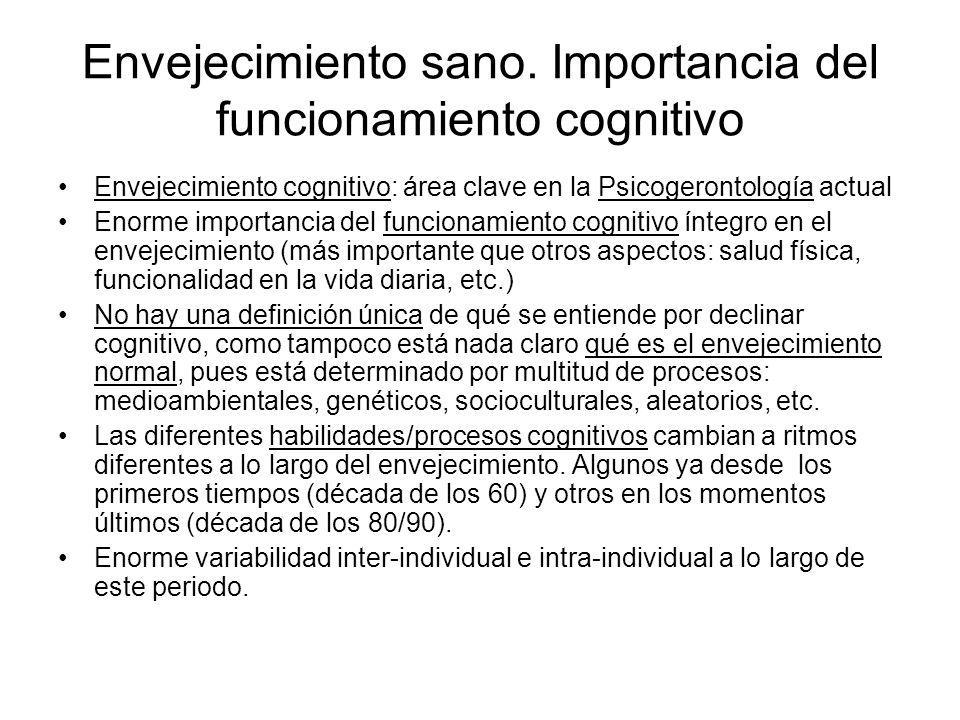 Envejecimiento sano. Importancia del funcionamiento cognitivo Envejecimiento cognitivo: área clave en la Psicogerontología actual Enorme importancia d
