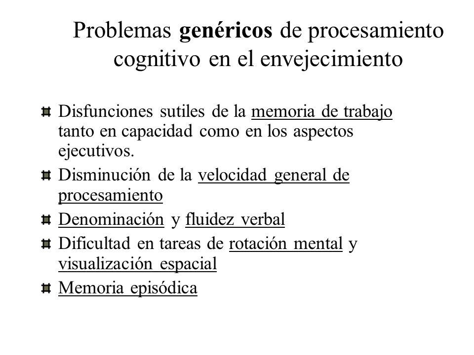 Problemas genéricos de procesamiento cognitivo en el envejecimiento Disfunciones sutiles de la memoria de trabajo tanto en capacidad como en los aspec