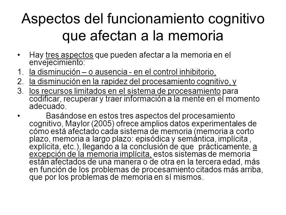Aspectos del funcionamiento cognitivo que afectan a la memoria Hay tres aspectos que pueden afectar a la memoria en el envejecimiento: 1.la disminució
