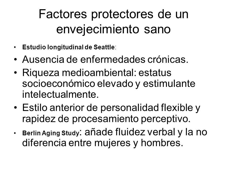 Factores protectores de un envejecimiento sano Estudio longitudinal de Seattle: Ausencia de enfermedades crónicas. Riqueza medioambiental: estatus soc