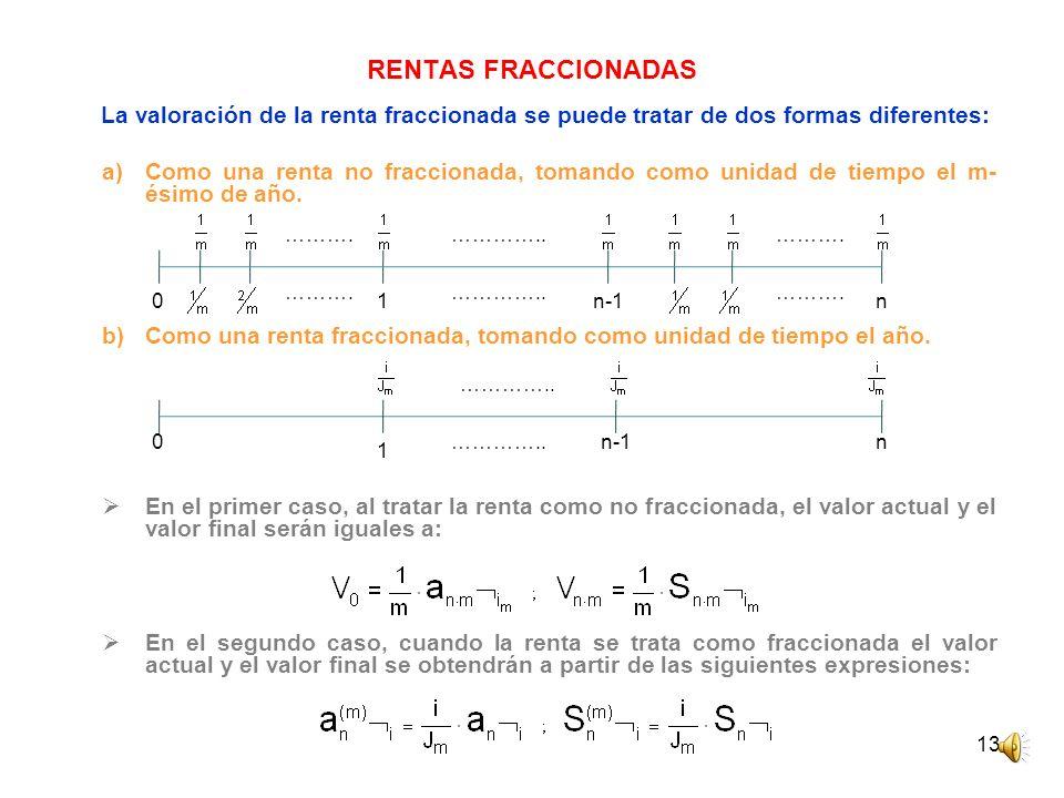 13 RENTAS FRACCIONADAS La valoración de la renta fraccionada se puede tratar de dos formas diferentes: a)Como una renta no fraccionada, tomando como u