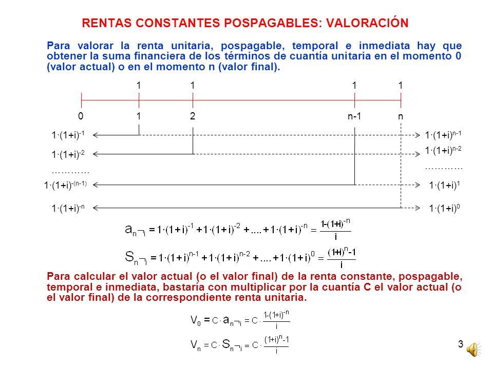 4 RENTAS CONSTANTES PREPAGABLES: VALORACIÓN Utilizando la misma metodología que para la renta pospagable se demuestra que el valor actual (o el valor final) de la renta prepagable es igual al valor actual (o el valor final) de la renta pospagable multiplicado por (1+i).