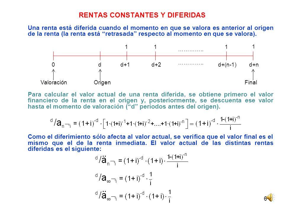 6 RENTAS CONSTANTES Y DIFERIDAS Una renta está diferida cuando el momento en que se valora es anterior al origen de la renta (la renta está retrasada