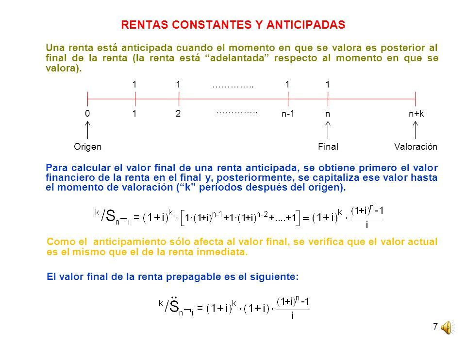 7 RENTAS CONSTANTES Y ANTICIPADAS Una renta está anticipada cuando el momento en que se valora es posterior al final de la renta (la renta está adelan