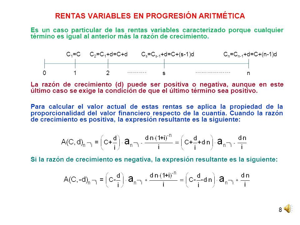 9 RENTAS VARIABLES EN PROGRESIÓN ARITMÉTICA El valor final de la renta variable en progresión aritmética se obtiene multiplicando su valor actual por (1+i) n.