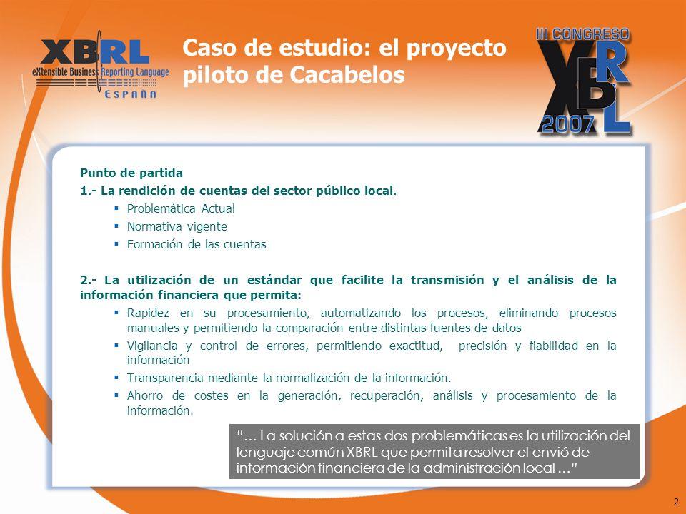 2 Caso de estudio: el proyecto piloto de Cacabelos Punto de partida 1.- La rendición de cuentas del sector público local. Problemática Actual Normativ
