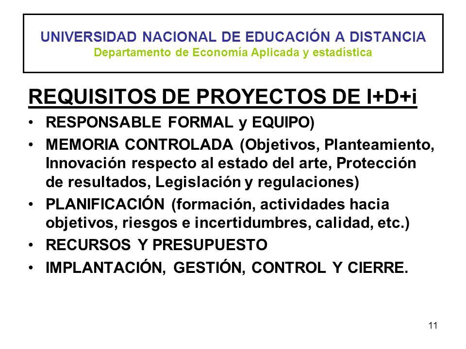 11 REQUISITOS DE PROYECTOS DE I+D+i RESPONSABLE FORMAL y EQUIPO) MEMORIA CONTROLADA (Objetivos, Planteamiento, Innovación respecto al estado del arte,