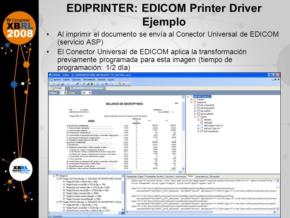 EDIPRINTER: EDICOM Printer Driver Ejemplo Al imprimir el documento se envía al Conector Universal de EDICOM (servicio ASP) El Conector Universal de EDICOM aplica la transformación previamente programada para esta imagen (tiempo de programación: 1/2 día)
