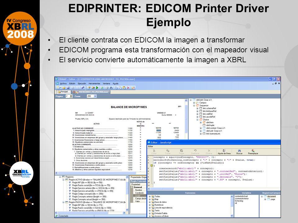 EDIPRINTER: EDICOM Printer Driver Ejemplo El cliente contrata con EDICOM la imagen a transformar EDICOM programa esta transformación con el mapeador visual El servicio convierte automáticamente la imagen a XBRL