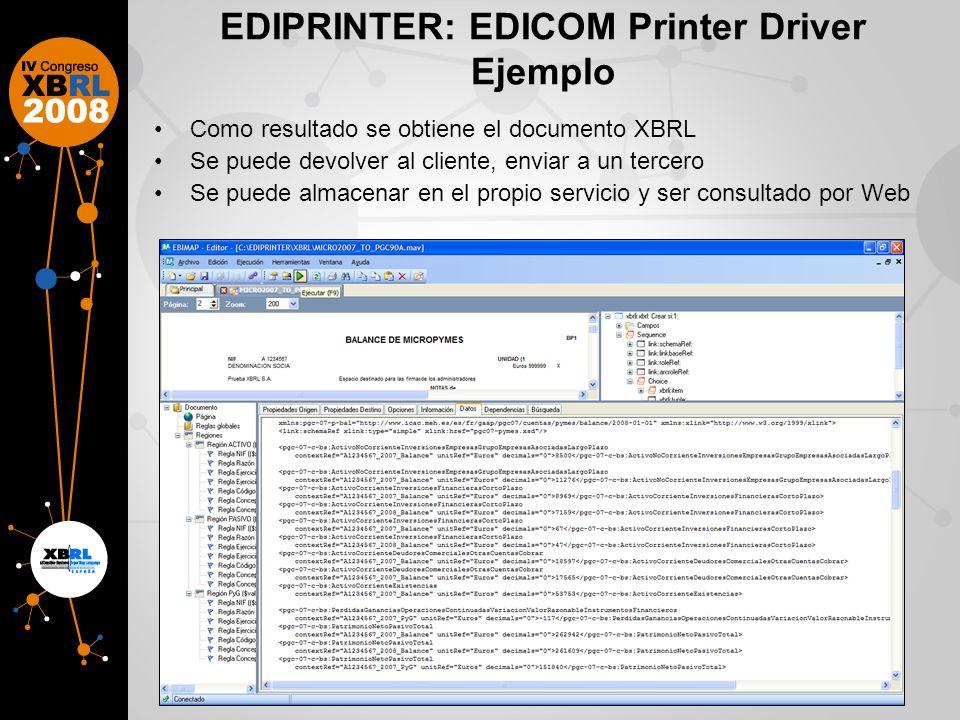 EDIPRINTER: EDICOM Printer Driver Ejemplo Como resultado se obtiene el documento XBRL Se puede devolver al cliente, enviar a un tercero Se puede almacenar en el propio servicio y ser consultado por Web