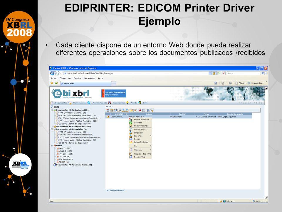 EDIPRINTER: EDICOM Printer Driver Ejemplo Cada cliente dispone de un entorno Web donde puede realizar diferentes operaciones sobre los documentos publicados /recibidos
