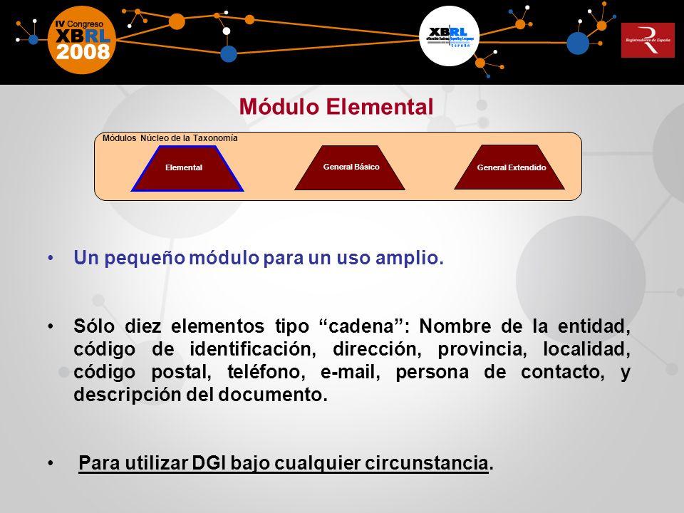 Un pequeño módulo para un uso amplio. Sólo diez elementos tipo cadena: Nombre de la entidad, código de identificación, dirección, provincia, localidad