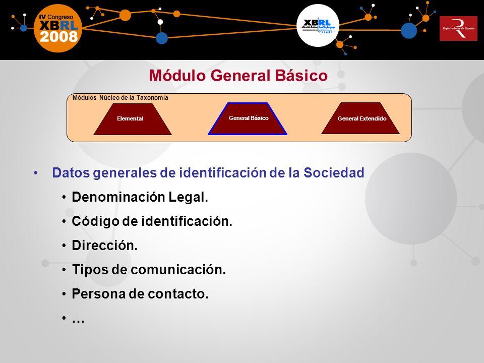 Datos generales de identificación de la Sociedad Denominación Legal. Código de identificación. Dirección. Tipos de comunicación. Persona de contacto.