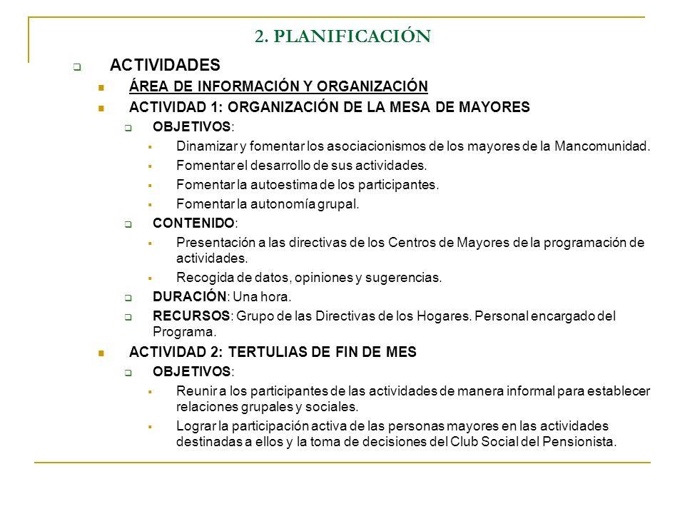 2. PLANIFICACIÓN ACTIVIDADES ÁREA DE INFORMACIÓN Y ORGANIZACIÓN ACTIVIDAD 1: ORGANIZACIÓN DE LA MESA DE MAYORES OBJETIVOS: Dinamizar y fomentar los as