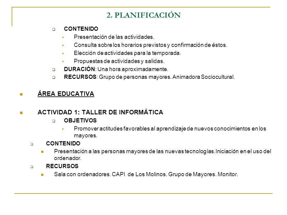 2. PLANIFICACIÓN CONTENIDO Presentación de las actividades. Consulta sobre los horarios previstos y confirmación de éstos. Elección de actividades par
