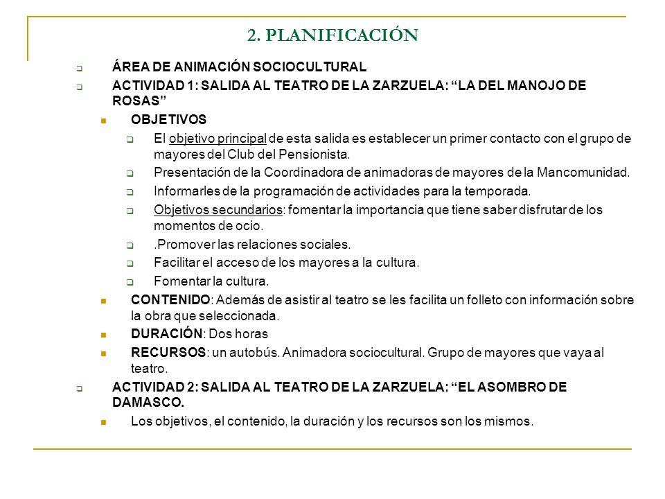 2. PLANIFICACIÓN ÁREA DE ANIMACIÓN SOCIOCULTURAL ACTIVIDAD 1: SALIDA AL TEATRO DE LA ZARZUELA: LA DEL MANOJO DE ROSAS OBJETIVOS El objetivo principal