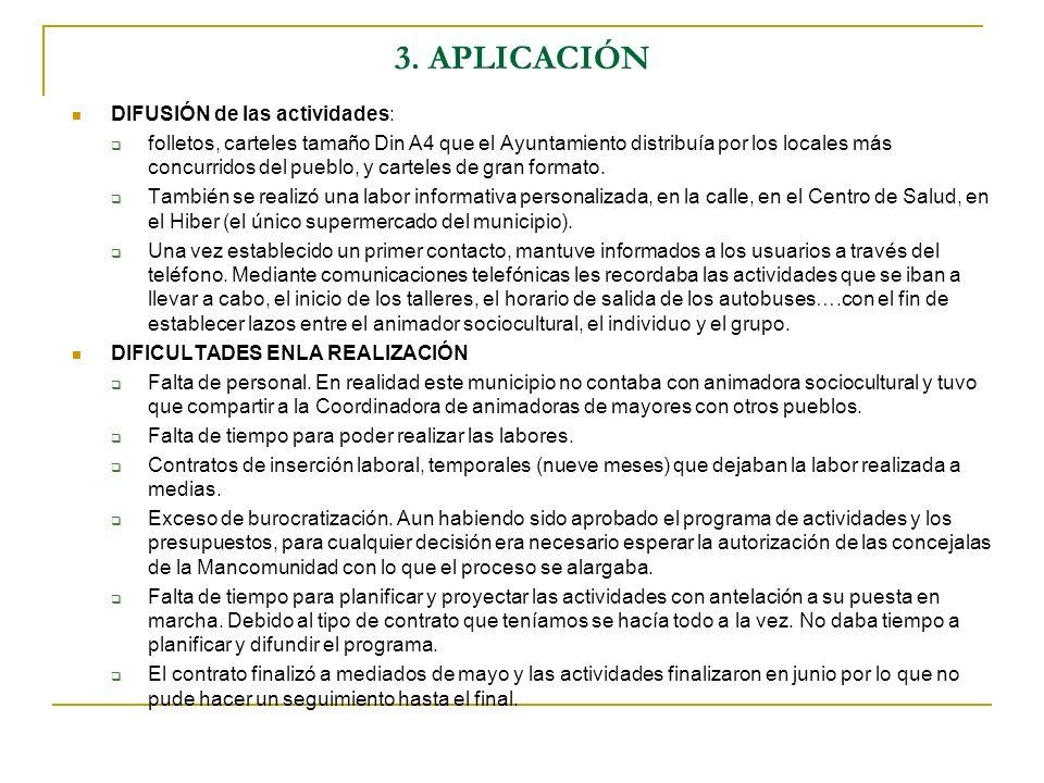 3. APLICACIÓN DIFUSIÓN de las actividades: folletos, carteles tamaño Din A4 que el Ayuntamiento distribuía por los locales más concurridos del pueblo,