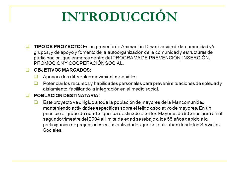 INTRODUCCIÓN TIPO DE PROYECTO: Es un proyecto de Animación-Dinamización de la comunidad y/o grupos, y de apoyo y fomento de la autoorganización de la