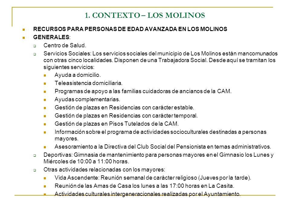 1. CONTEXTO – LOS MOLINOS RECURSOS PARA PERSONAS DE EDAD AVANZADA EN LOS MOLINOS GENERALES: Centro de Salud. Servicios Sociales: Los servicios sociale