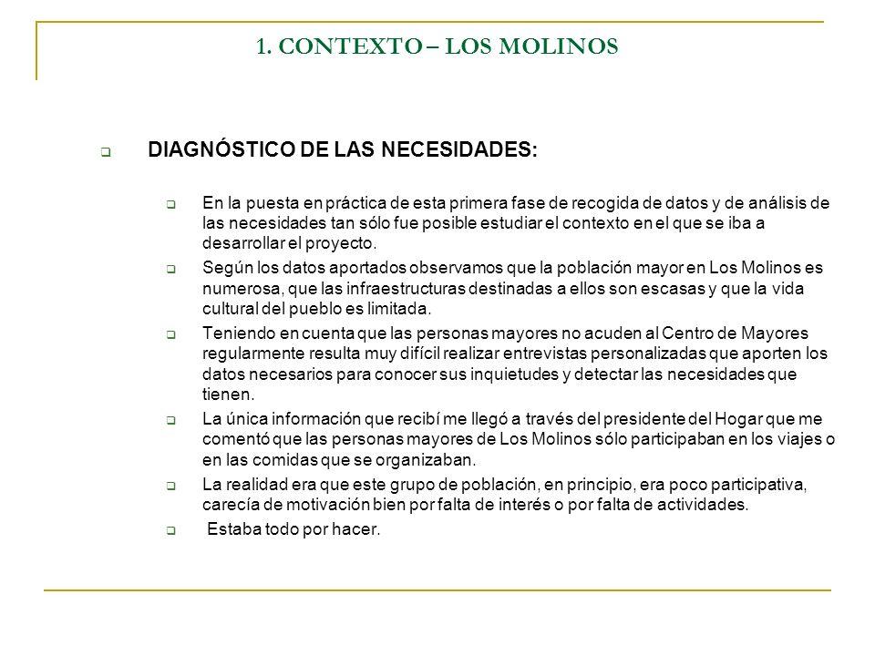 1. CONTEXTO – LOS MOLINOS DIAGNÓSTICO DE LAS NECESIDADES: En la puesta en práctica de esta primera fase de recogida de datos y de análisis de las nece