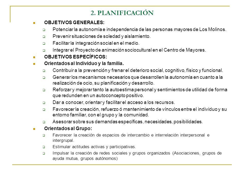 2. PLANIFICACIÓN OBJETIVOS GENERALES: Potenciar la autonomía e independencia de las personas mayores de Los Molinos. Prevenir situaciones de soledad y