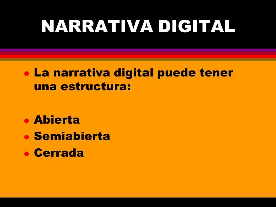 NARRATIVA DIGITAL l La narrativa digital puede tener una estructura: l Abierta l Semiabierta l Cerrada