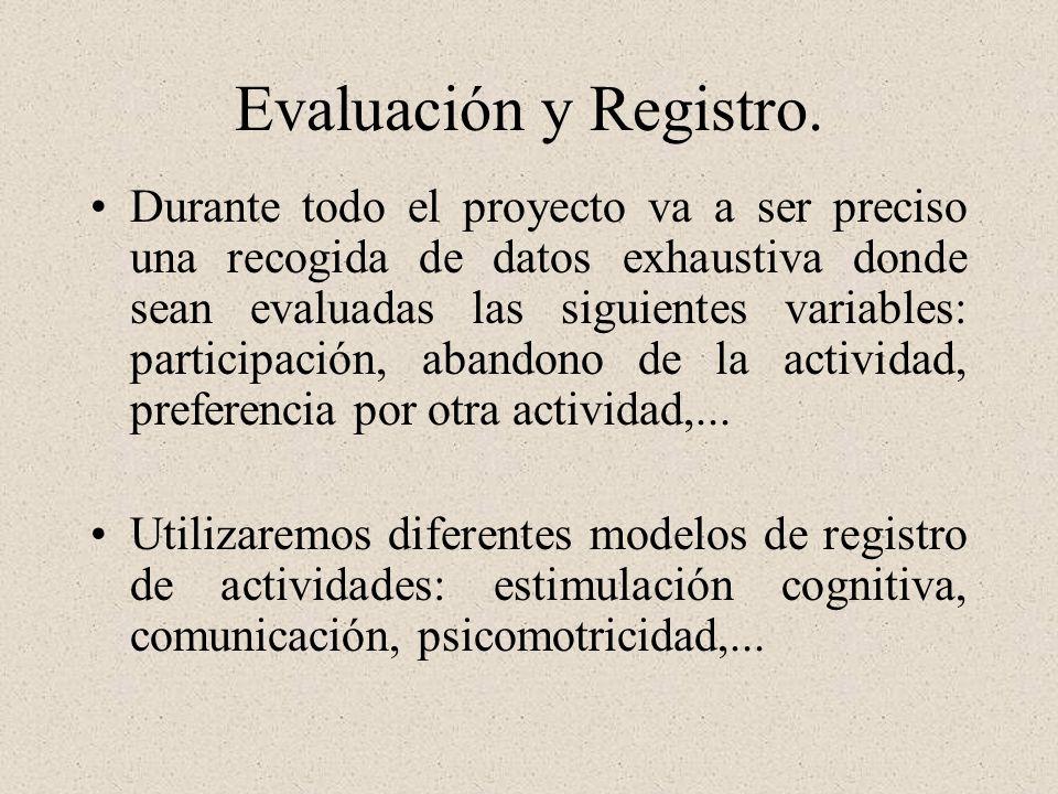 Evaluación y Registro. Durante todo el proyecto va a ser preciso una recogida de datos exhaustiva donde sean evaluadas las siguientes variables: parti