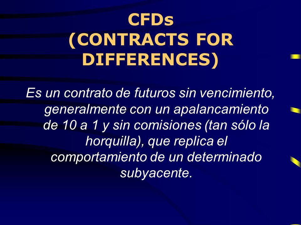 CFDs (CONTRACTS FOR DIFFERENCES) Es un contrato de futuros sin vencimiento, generalmente con un apalancamiento de 10 a 1 y sin comisiones (tan sólo la