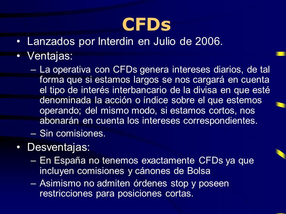 CFDs Lanzados por Interdin en Julio de 2006. Ventajas: –La operativa con CFDs genera intereses diarios, de tal forma que si estamos largos se nos carg
