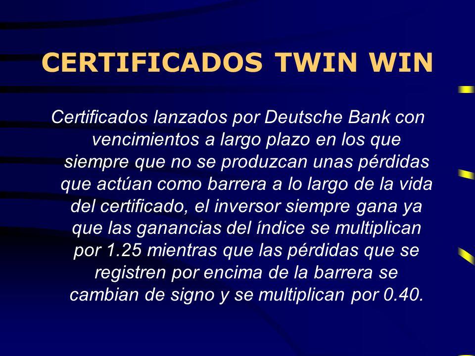 CERTIFICADOS TWIN WIN Certificados lanzados por Deutsche Bank con vencimientos a largo plazo en los que siempre que no se produzcan unas pérdidas que