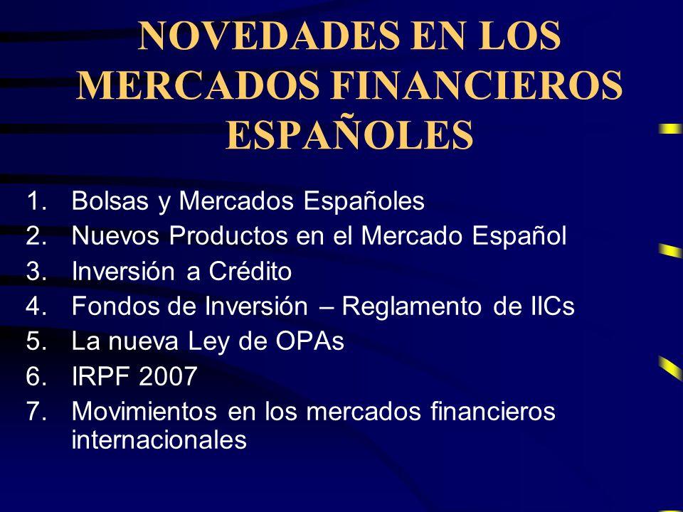 1.Bolsas y Mercados Españoles 2.Nuevos Productos en el Mercado Español 3.Inversión a Crédito 4.Fondos de Inversión – Reglamento de IICs 5.La nueva Ley