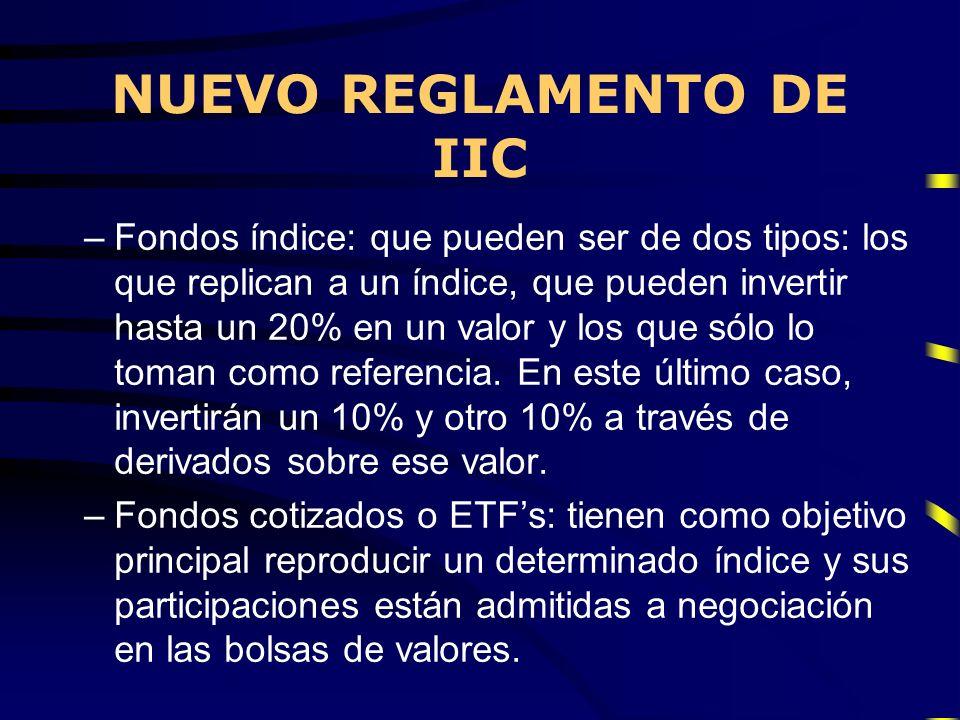 NUEVO REGLAMENTO DE IIC –Fondos índice: que pueden ser de dos tipos: los que replican a un índice, que pueden invertir hasta un 20% en un valor y los
