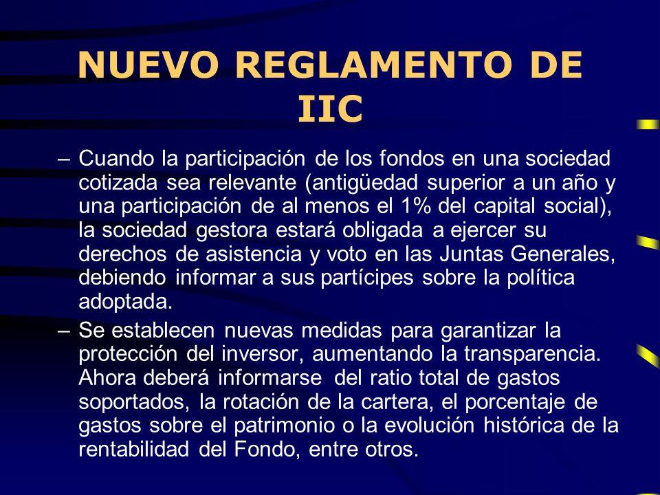 NUEVO REGLAMENTO DE IIC –Cuando la participación de los fondos en una sociedad cotizada sea relevante (antigüedad superior a un año y una participació