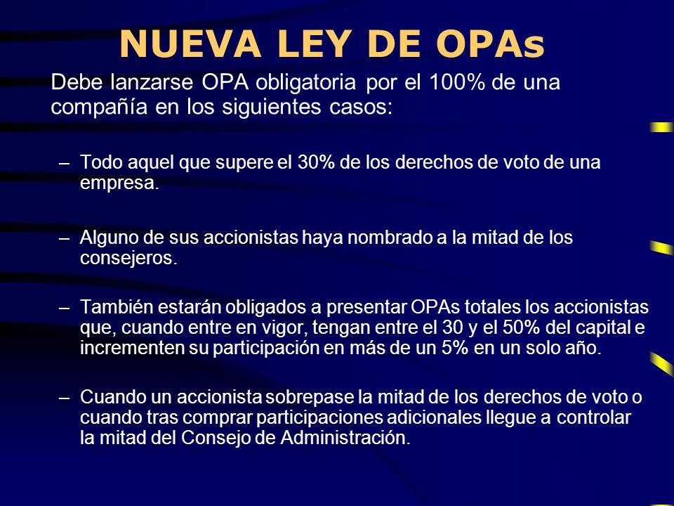 NUEVA LEY DE OPAs Debe lanzarse OPA obligatoria por el 100% de una compañía en los siguientes casos: –Todo aquel que supere el 30% de los derechos de