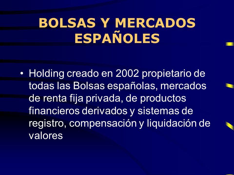 Holding creado en 2002 propietario de todas las Bolsas españolas, mercados de renta fija privada, de productos financieros derivados y sistemas de reg