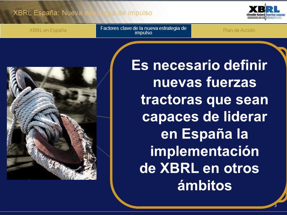XBRL España: Nueva estrategia de impulso 3 XBRL en España Factores clave de la nueva estrategia de impulso Plan de Acción 1 2 3 Liderazgo y motivación de la Administración pública Implementación de XBRL en la administración pública y en las entidades locales Difusión y dinamización en el sector privado Es necesario definir nuevas fuerzas tractoras que sean capaces de liderar en España la implementación de XBRL en otros ámbitos