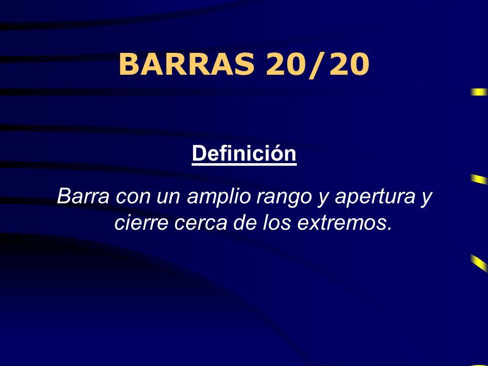 BARRAS 20/20 La denominación 20/20 proviene de que, teóricamente, la apertura debe estar en el 20% inferior (o superior en el caso bajista) de la barra y el cierre deben estar en el 20% superior (inferior en el caso bajista).